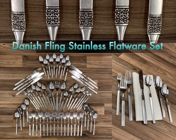 Vintage Flatware set Danish Fling Modern MCM Flatware Service for 8 Silverware set