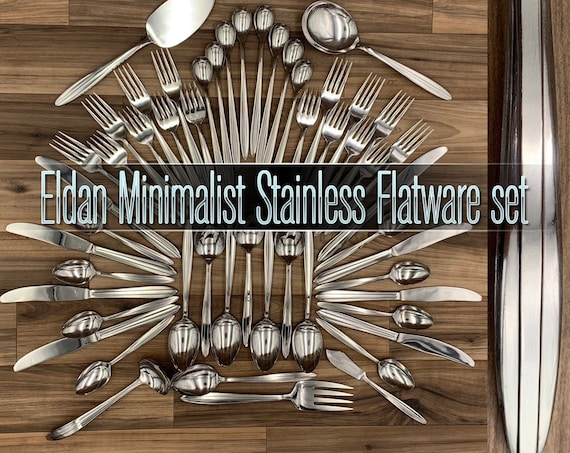 Eldan Minimalist Stainless Flatware, Mid Century Flatware set Service for 8