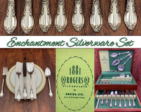 Vintage Silverware Set, Service for 8, Mahogany Silverware chest, Collectible flatware Set