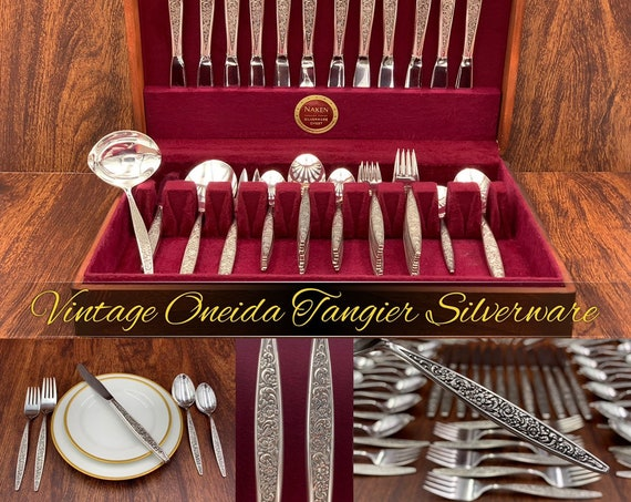 Vintage Flatware Set with Silverware Chest, Service for 12, serving Set Luxury Wedding Gift