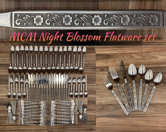 Mid Century Stainless Flatware set, Service for 16, Floral handle MCM Flatware Vintage Silverware set