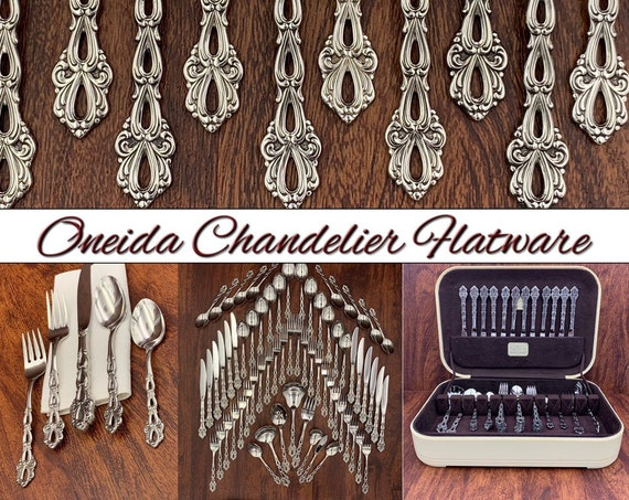 RARE Oneida Stainless Flatware set, Service for 12 Vintage Silverware set, Silverware Chest, Excellent Condition, wedding gift