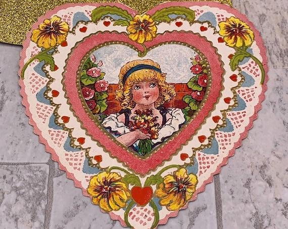 Vintage Valentine Card, Big eyed Chubby Cheek Girl, 1930s Valentine, Die cut , Paper ephemera, scrapbooking