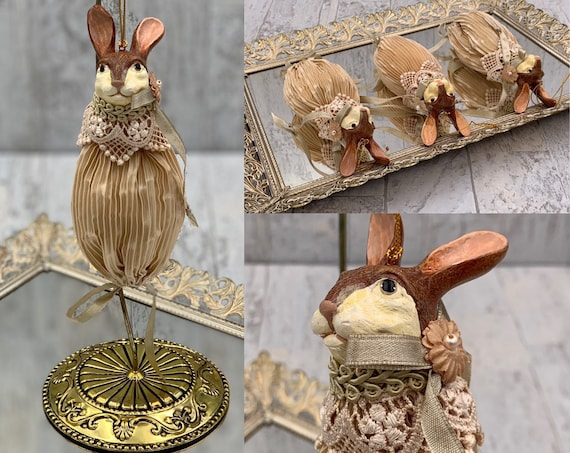 Vintage Rabbit Sachet Wayne Kleski collectible doll, Victorian style sachet, gift for her, Vintage Easter decoration, bunny ornament