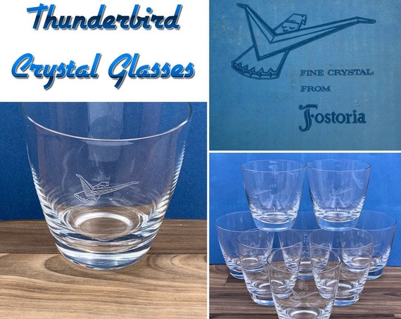 Mid Century Glassware Fostoria Crystal Thunderbird Automobile Glasses, collectible Drinkware, gift for Him
