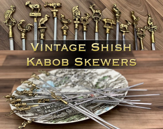 Vintage Shish Kabob Skewers, Figural Skewers Unique Brass Cutlery set