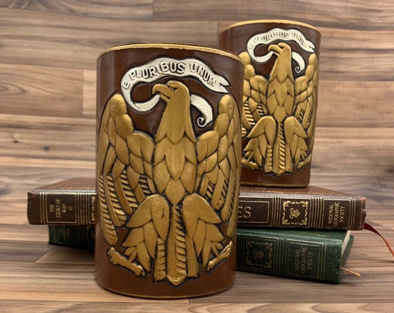 Vintage Eagle Bookends, E Pluribus Unum Patriotic Bookends, traditional office decor library Gift for Him