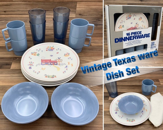 Vintage Texasware Dish set Melamine Plastic dishes, Country Blue Picnic dishes, Vintage Trailer Camping Glamping Rustic Cabin