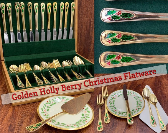 Holly Berry Gold Flatware Set service for 12 Vintage Flatware in Silverware chest Holiday silverware set Gift for Her