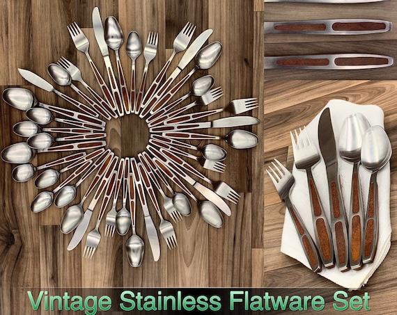 Vintage Flatware set with Brown Inset Handles, Stainless silverware set