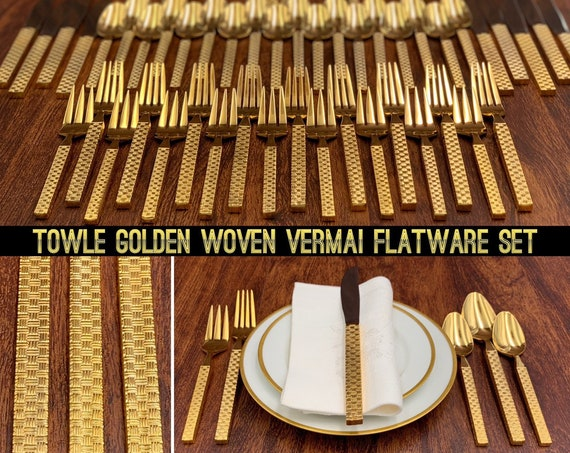 Vintage Gold Flatware Set, Gold Plated Supreme Cutlery Flatware, Service for 9, Gold Silverware Set