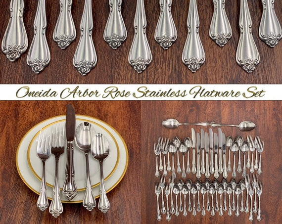 Oneida Rose Stainless Flatware set, Service for 8, Arbor Rose Vintage Silverware set, Rose silverware set