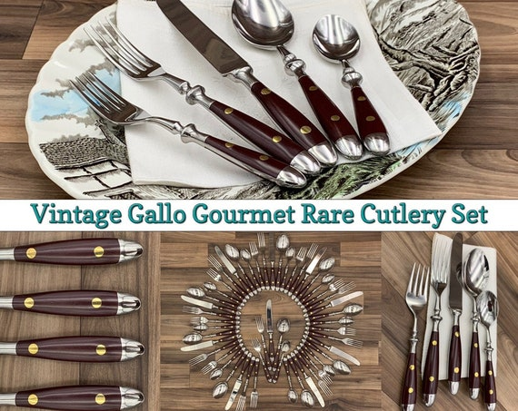 RARE Flatware Set, Towle Supreme Cutlery Gallo Gourmet Flatware, complete service for 10, Riveted Cutlery set Vintage Silverware set
