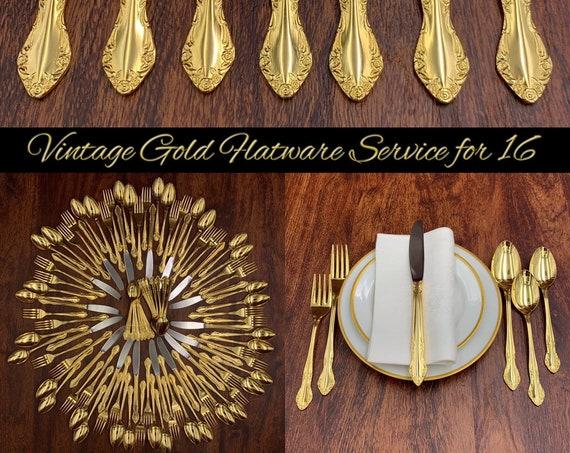Large Estate Gold Flatware set, Wedding Silverware set Floral Scroll Flatware service for 16 Wedding Gift