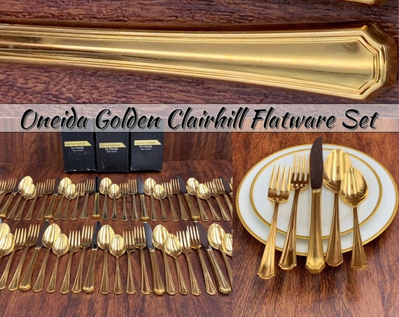 Vintage Oneida Gold Flatware Set service for 12, Golden Clairhill Luxury Flatware Wedding Gift