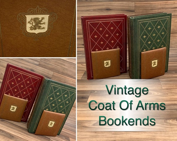 Vintage Bookends Coat of Arms Bookends, traditional office decor library Gift for Him