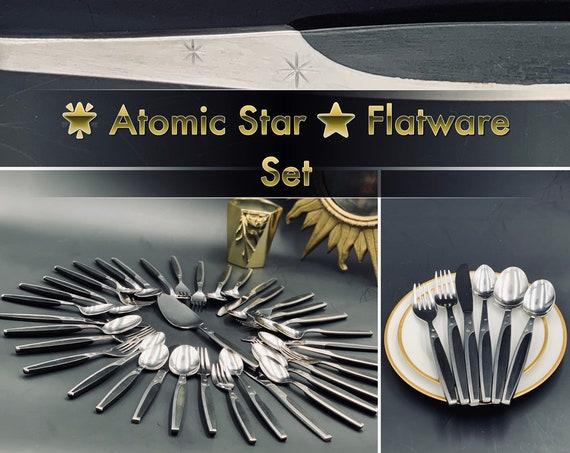 Vintage Mar Crest Atomic Star Flatware set, Mid Century Celestial Flatware, Vintage Silverware Set