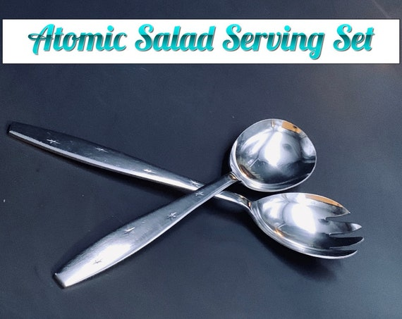 Atomic Star Salad Serving Set Stainless Flatware, Mid Century Celestial Flatware, Vintage Silverware Set