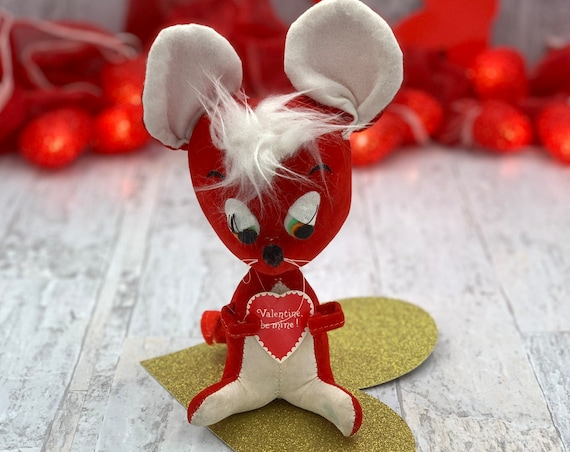 Vintage Red Velvet Valentine Mouse, Stuffed Be My Valentine Big eared Mouse, Red and White plush Valentine gift, Vintage Valentine Decor