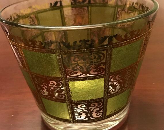 Culver Glass Ice Bucket by Culver, Gold Hollywood Regency Ice Bucket, Mid Century Modern Man Cave Drinkware