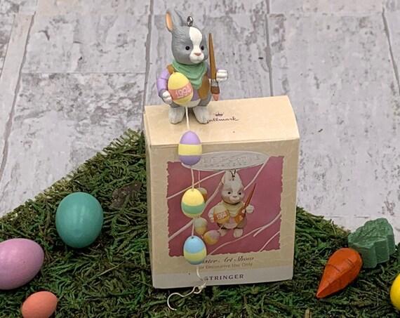 Vintage Easter Art Show Hallmark Ornament, Easter Bunny Painting eggs, 1994 Collectible Hallmark Ornament