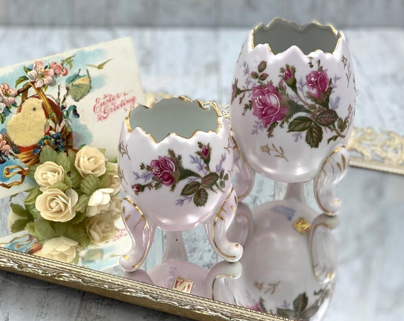 Pair of Napcoware Porcelain Egg Planters with flowers handpainted gold accent, Collectible Easter Egg vases, Vintage Easter Decor