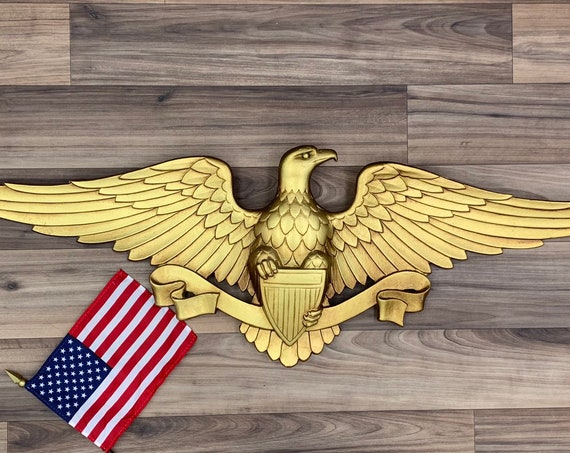 Patriotic Wall Decor USA Eagle Vintage Wall Art Hanging Rustic Cabin Decor