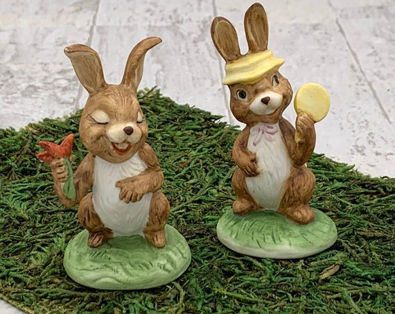 Vintage Easter Bunny figurines, girl and boy bunny rabbits, Easter Bunny miniatures, Spring Decor