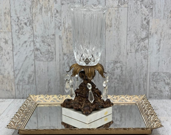 Hollywood Regency candle holder with marble base and cut crystal hanging crystals, Lamp Base Baroque Style