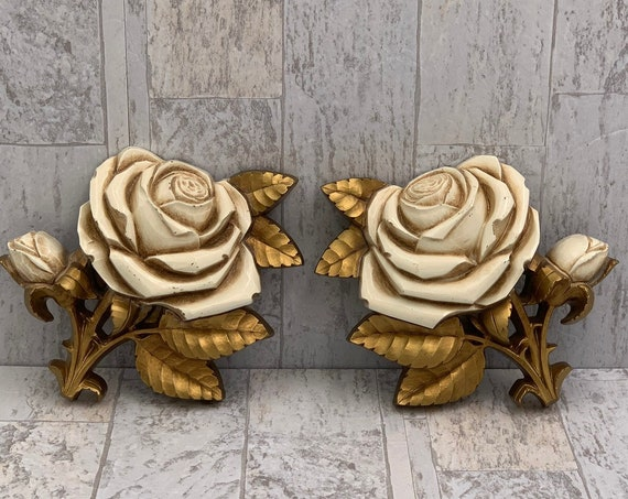 Hollywood Regency Style Rose Wall decor, Vintage set of Homco Wall hangings, Gold and cream wall plaques