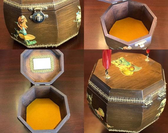 Vintage Wood Découpaged Box Purse, Retro Wood handbag, Granny Chic