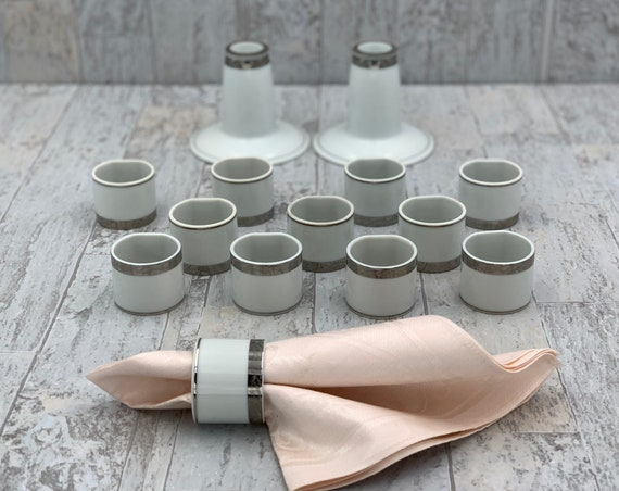 Vintage Porcelain Napkin Rings and matching Candlestick Holders, Hand painted White and Silver Futagawa Napkin Rings Tableware set