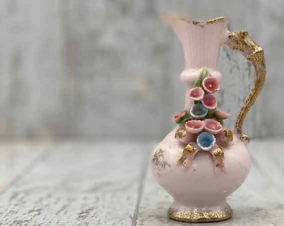 Miniature Pink Porcelain Vase, Applied Roses Vintage Lefton pitcher, shabby chic, gift for her