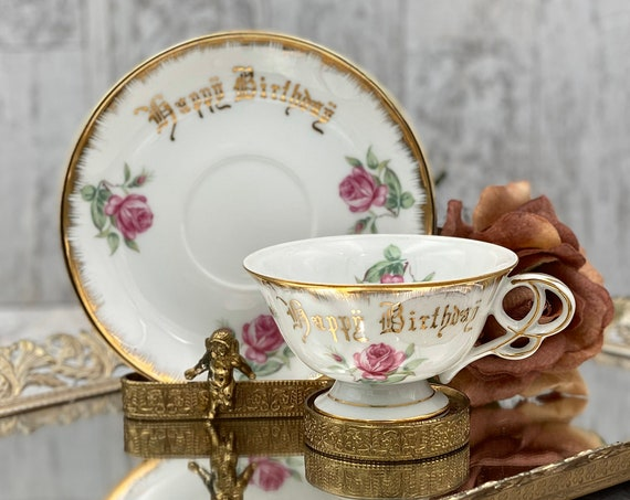 Happy Birthday Teacup with Pink Roses Gold Gilt footed Teacup made in Japan, Gift for Her
