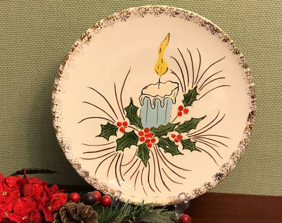 Vintage Christmas Plate, handpainted ceramic Plate, Candle and holly Holiday plate with gold gilt edge, 1950s Christmas, gift for her