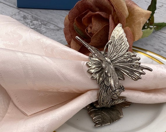 Figural Napkin Ring, Reed and Barton collection Designer Butterfly Silver Plated Napkin holder, Victorian style, Gift