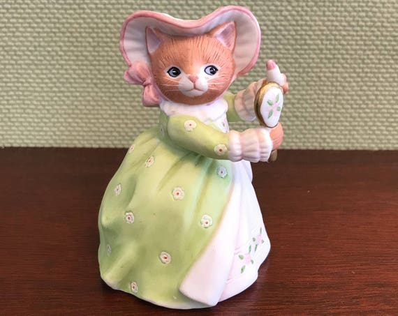 Porcelain Ginger Cat Figurine, Kitty Cucumber Collectible Figurine, anthropomorphic Cat Figurine, Cinderella Series, Cat lovers Gift