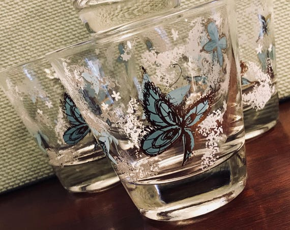 Vintage Butterfly Glasses gold gilt Aqua Blue butterfly Glasses, Mid Century drink ware gift for Her