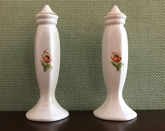 Vintage Ceramic Salt and Pepper set Collectible Floral salt and pepper shakers with Gold accents Cottage Chic salt and Pepper Foodie Gift