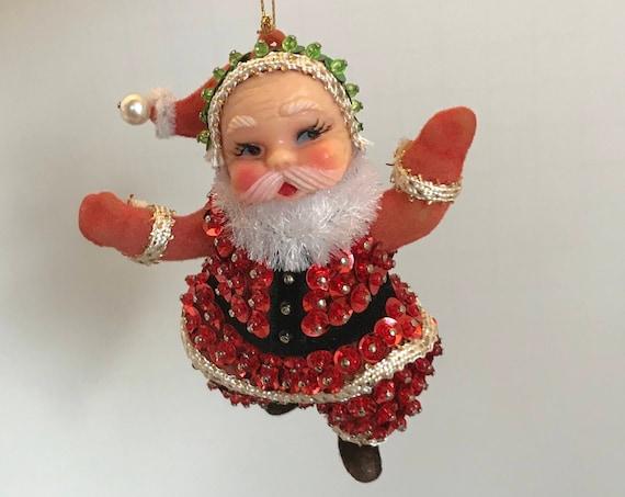 Vintage Santa Ornament, Beaded Sequined Handmade. Christmas Gift exchange