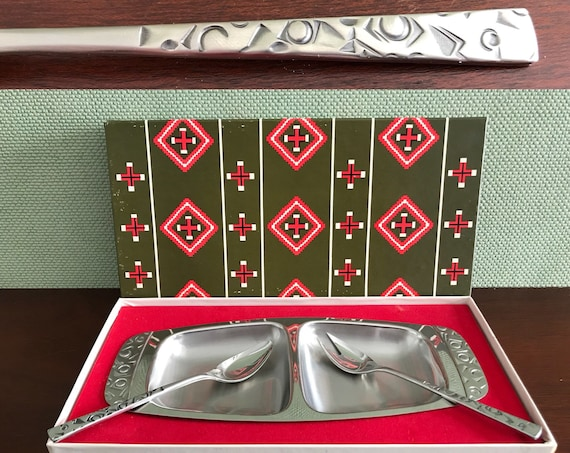 Vintage Condiment Serving Tray gift set, Navaho by International Silver Foodie Gift