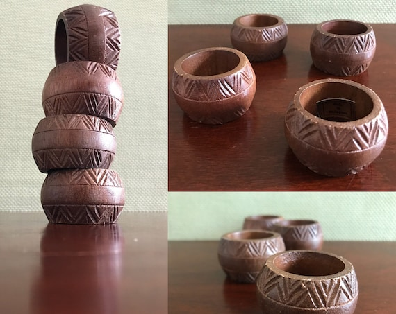 Carved Wood Napkin Rings, 4 piece set, Vintage Napkin Ring, Rustic home decor, cloth napkin rings, Bohemian Decor