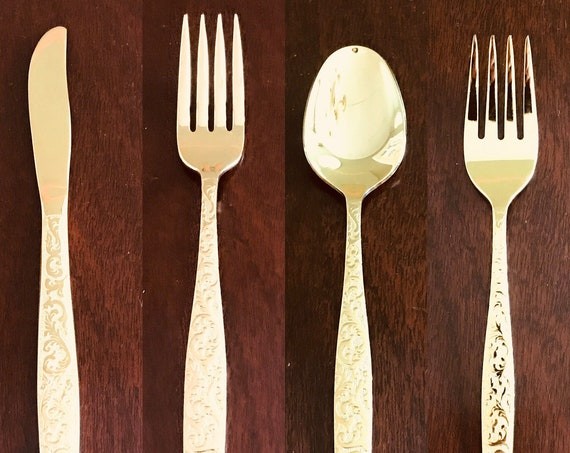 Vintage Gold Flatware, replacement pieces Americana Golden Heritage IS, choice of Gold Electroplate Flatware, Hollywood Regency