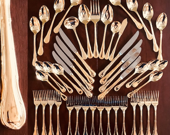 Gold Flatware Set, Wesley Forge 46 piece, service for 8, Bonus Hostess serving set, elegant golden ribbon pattern, Wedding flatware, gift
