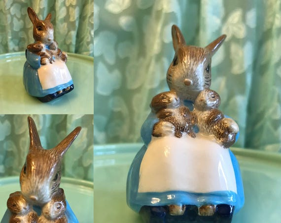 Vintage Beatrix Potter Porcelain Bunny Figurine, Royal Albert Porcelain Bunny, Mrs Rabbit baby Bunnies figurine, Gift for Her, nursery decor