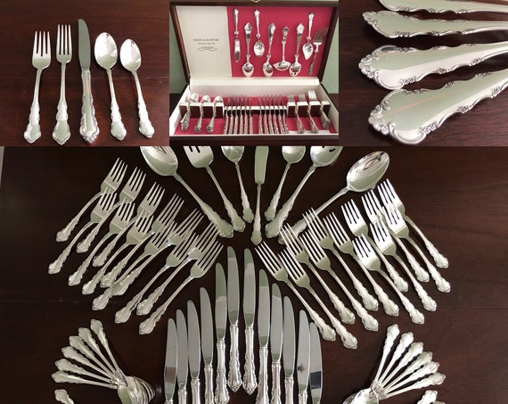 Vintage Silverware Set, Reed Barton Dresden Rose flatware, Large 12 place settings, Original Chest, Hostess set, Gift for her, Wedding