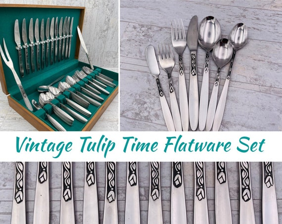 Danish Modern flatware, Tulip Time by Amefa, Tulip pattern Silverware Set, Service for 12