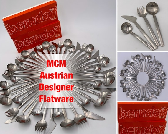 RARE MCM Flatware Set Vintage Berndorf MOD Designer Silverware Set service for 12 Excellent in original Boxes