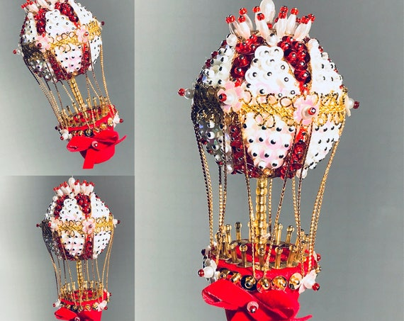 Vintage Hot Air Balloon Ornament, sequined Beaded, Red and White Bauble, Ornate Handmade Ornament, Ornament exchange, Gift Ornament