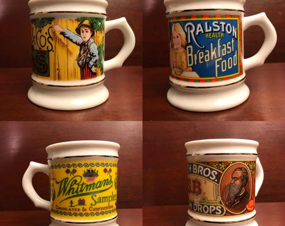 Vintage Advertising Mugs, The Corner Store porcelain Mug set, Whitman's, Ralston Purina, Smith Bros cough drops, DM Ferry Co seeds, Gift